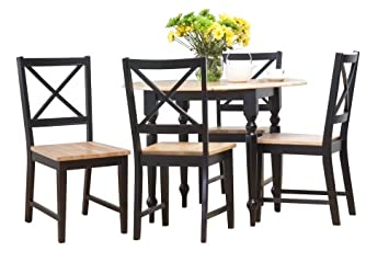 Target Marketing Systems 5 Piece Virginia Dining Set with 4 Chairs and a Double Drop Leaf Table, Black Natural