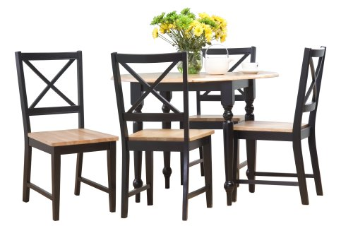 Target Marketing Systems 5 Piece Virginia Dining Set with 4 Chairs and a Double Drop Leaf Table, Black/Natural