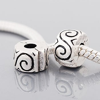 (2) Antique Silver Tone Swirls Clip Lock Stopper Bead Charms. Compatible With Troll, Biagi, Zable, Chamilia Charm Bracelets.