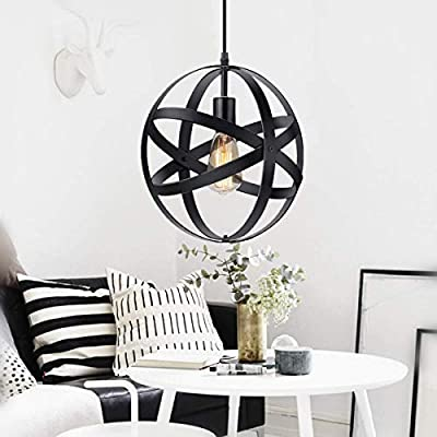 KingSo Industrial Metal Pendant Light, Spherical Pendant Light, Rustic Chandelier Vintage Hanging Cage Globe Ceiling Light Fixture for Kitchen Island Dining Room Farmhouse Entryway Foyer Table Hallway - ✔ Size: The diameter of the industrial globe pendant light is 11.81 inches, suggested Room Size: 5-8㎡. Hanging line is adjustable (max length of 51 inch), you can choose the suitable cord length BEFORE INSTALLATION. 4.2 Pounds in weight. Note: Please check the dimensions carefully before purchasing if this hanging lamp will fit your room. ✔ Geometric Aesthetic Design - All the 4 rings can be spinned around screws. Traditional design of ceiling pendant light, be SAFER & CONCISE. ✔ Safe and Secure - Hardwired. Open-air design of the black metal pendant lamp protects the bulb well and maximizes its light, and increases fashion charm. Well-package and users' manual and additional accessories, ensuring your installation. - kitchen-dining-room-decor, kitchen-dining-room, chandeliers-lighting - 41JLxQ6AoZL. SS400  -