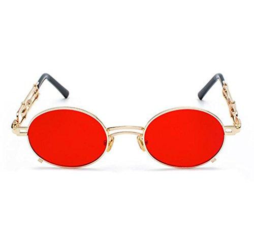 polarisé soleil en métal Non ovales Keephen Vintage de Doré Steampunk Fashion Rouge Classique lunettes w8xpqTX