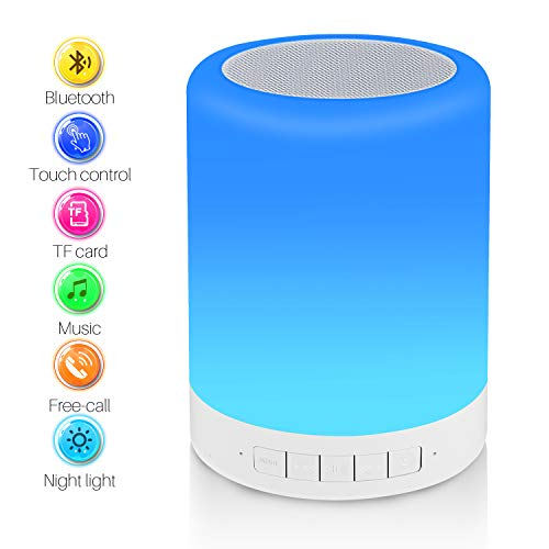 Bedside Lamp with Bluetooth Speaker - Reawul Table Night Light 3 Touch Dimmable Modes and 7 Colors to Switch, Gift for Women Men Teens Kids