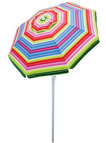 Rio Beach 6' Beach Umbrella with Sun Block, Multi Stripe ()