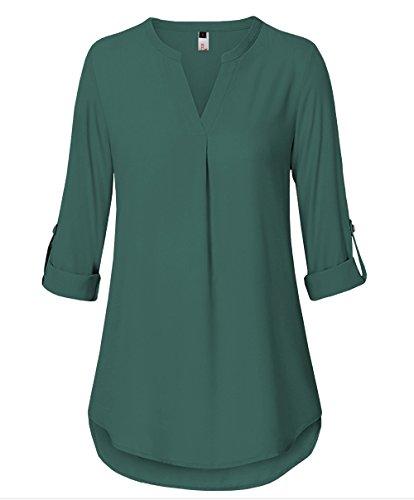 41JLyaIYALL - ELFIN Damen Freizeit Lange Ärmel V-Ausschnitt Chiffon Bluse Elegante Frauen Tunika Oberteile, Grün, Medium