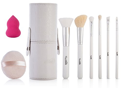 Professional Makeup Brush Set with Stippling Kabuki Foundation and Contour, Blush/Powder, Eyeashadow, Crease Blending, Eyeliner & Brow and Lip Brushes, 9 Pcs, Real & Synthetic Hair, Sponge Travel Case