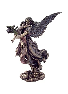 "Top Collection 11"" Guardian Angel Holding Baby in Cold Cast Bronze - Collectible Angel Figurine of Mother and Baby"