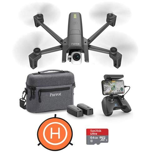 Parrot ANAFI 4K Portable Drone Extended Combo Pack – Bundle with 64GB MicroSDXC Card, DJI 75cm Protective Fast-fold Drone Landing Pad