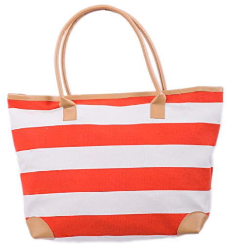 Beach Bag Womens Canvas Summer Tote Shoulder Bags Shopper for Girls ladies RED