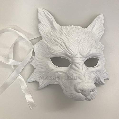MasqStudio White Wolf Mask Animal Masquerade Halloween Costume Cosplay Party mask]()