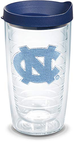 Collegiate 16 Ounce Tumblers - Tervis 1056679 North Carolina Tar Heels Logo Tumbler with Emblem and Navy Lid 16oz, Clear