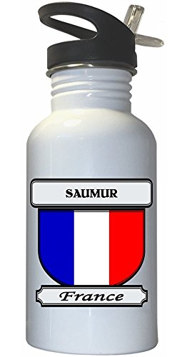 Saumur, France City White Stainless Steel Water Bottle Straw Top
