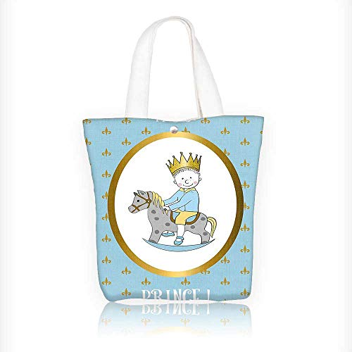 Stylish Canvas Zippered Tote Bag Prince with Newborn Boy Riding G Shopping Travel Tote Bag W11xH11xD3 INCH