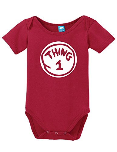 Thing One Printed Infant Bodysuit Baby Romper Red 6-12 - 2 Onesie Person