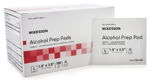 Alcohol Prep Pad, McKesson, Isopropyl Alcohol 70%, Individual Packet, Large, 3.5 X 1.7 Inch, Sterile, 100 Ct. Box, Case of 10 Boxes = 1000 Pads by McKesson