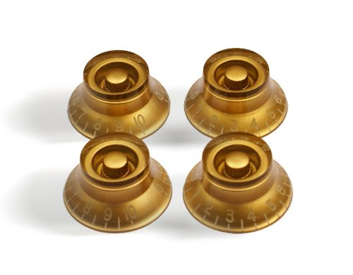 4x Top Hat Bell Style Guitar Speed Knobs AMBER (Gold Bell Knobs)