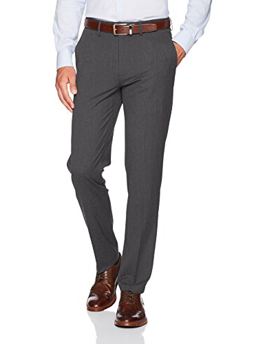 Haggar Men's J.M. Stretch Superflex Waist Slim Fit Flat Front Dress Pant, Charcoal Heather, 36Wx32L