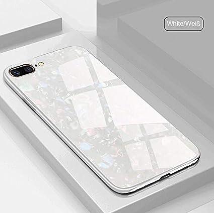 SevenPanda Galaxy S9 Plus 2018 Hülle, Gehärtetes Glas Muster Conch Shell Glitter Pearly-Luster Painted Spiegel Stoßfänger Sparkle Bling Cover für Samsung Galaxy S9+ Plus - Weiß SMS9Plus-BeiKeWen-Bai