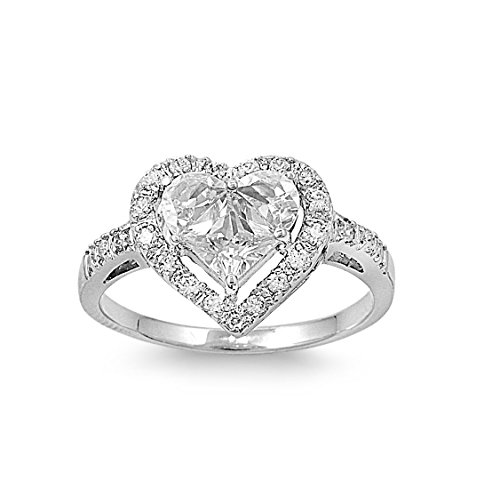 CloseoutWarehouse Cubic Zirconia Designer Inspired Heart Center Ring Sterling Silver Size 12