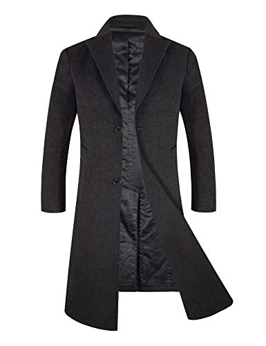 APTRO Men's Winter Wool Overcoat Thickened Lining Trentch Coat 1817 Gray L