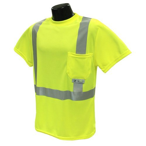 "2"" Tape Large Class 2 Neon Green Short Sleeve TShirt 1 Pocket L-ST11-2PGS by Radians"