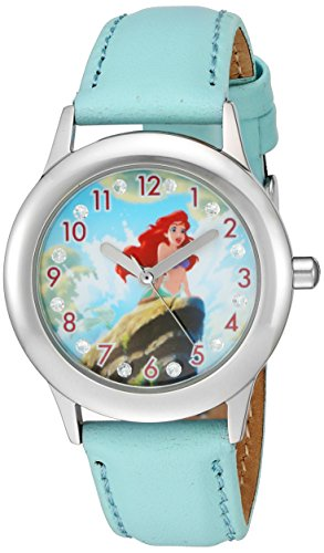 Disney Girl's 'Ariel' Quartz Stainless Steel and Leather Watch, Color:Blue (Model: W002916)