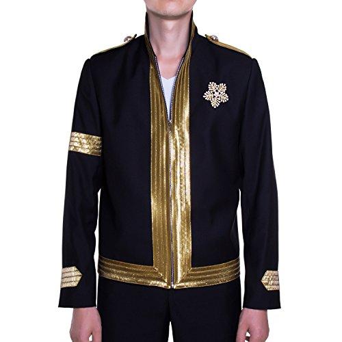 MJB2C - Michael Jackson Costume - Mandela Jacket - Balmain Style - Large Black -
