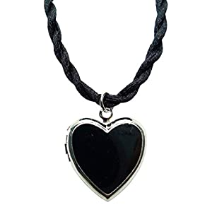 Bijoux De Ja Rhodium Plated Color Enamel Heart Locket Pendant Cord Necklace 18 Inches. (Black)