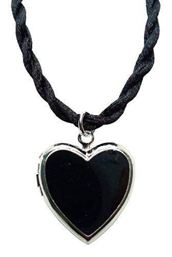 Bijoux De Ja Rhodium Plated Color Enamel Heart Locket Pendant Cord Necklace 18 Inches. (Black) (Plated Rhodium Color)