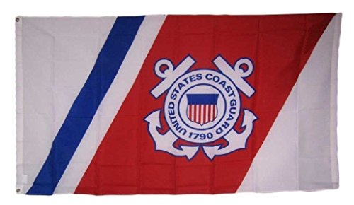 3x5 USCG United States Coast Guard Anchors Crest Emblem Seal Flag 3'x5' Super Polyester Nylon Double Stitched Fade Resistant Premium Quality Guard Emblem