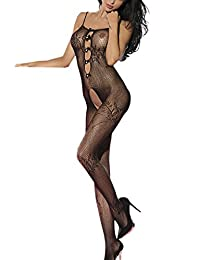 Globalsellinc Women Sexy Fishnet Crotchless Bodystocking Bodysuit Teddy Nightwear