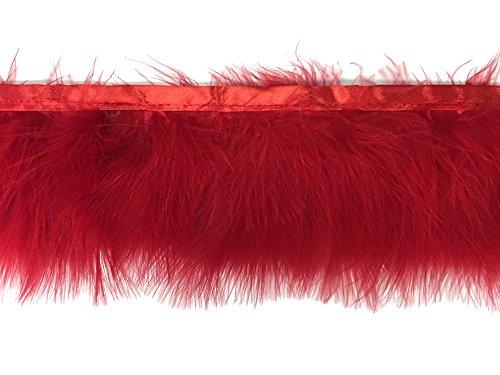 Moonlight Feather | 1 Yard - Red Marabou Turkey Fluff Feather Fringe Trim Fashion, Party, Wedding
