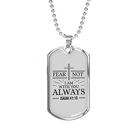 (Express Your Love Gifts Isaiah 41:10 Stainless Steel Silver Tone Military Dog Tag Necklace w 24