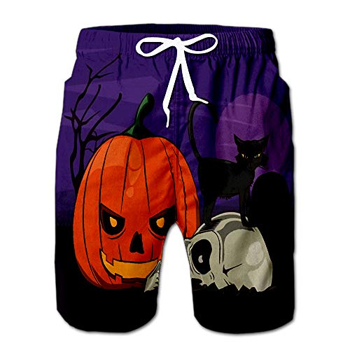 Summer Shorts Pants Halloween Scary Scenery Cartoons with Purple Sky and Full Moon Design Swim Trunks Stripe Casual Swim Shorts -