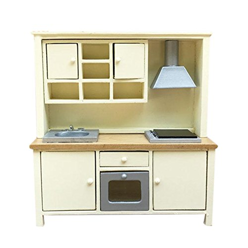 BESTLEE 1:12 Doll House Light Yellow Kitchen Cabinet Cupbpard Stove Oven Sink Range Hood Playset by BESTLEE
