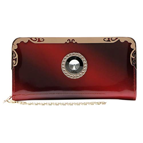 Sunbona Coin Purses for Women Fashion Long Patent Leather Gradient Color Bag Rainbow Purse Clutch Purse Card Holder Wallet