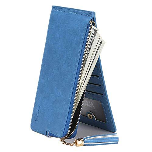 Di Borsa Portafoglio Lunga Bag Frange Donna Cerniera Nera Portafogli Con Mini Moda Europea Blue A wpvqSnrp5