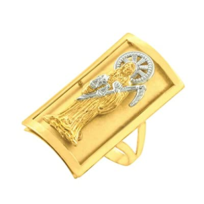 10k Two-tone Gold Long Grim Reaper Santa Muerte Shield Ring (12.7 x 22.8 mm)