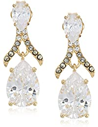 10k gold plated sterling silver and swarovski marcasite post drop earrings