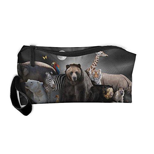Cosmetic Bags With Zipper Makeup Bag Elephants Polar Bears Brown Bears Zebras Birds Middle Wallet Hangbag Wristlet Holder -