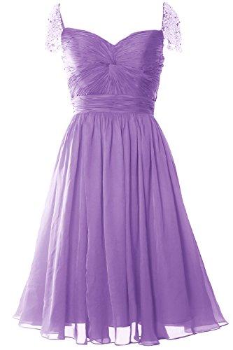 MACloth Women Cap Sleeve Short Ball Gown Evening Formal Prom Dress Wedding Party Lavanda