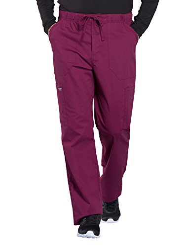 Cherokee WW Professionals WW190 Men's Tapered Leg Drawstring Cargo Pant Wine XS Short