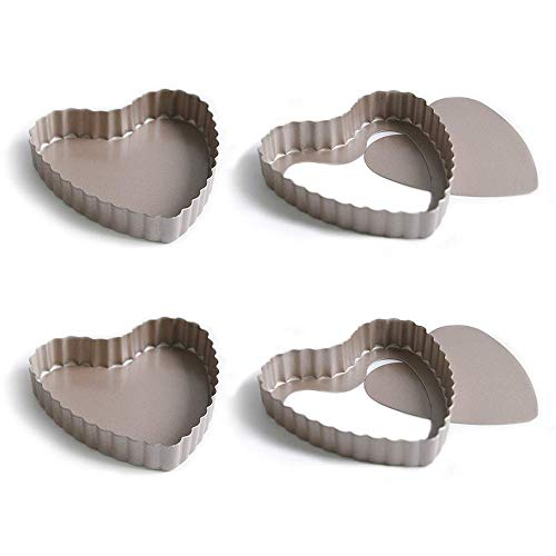 Bakerdream 3.5 Inch Quiche Pan,Nonstick Removable Bottom Mini Tart Pan, Heart Shaped Pie Pan Pack of 4 (4 pack Heart Shape)