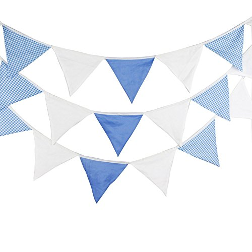 Lovely Bunting 5.1M/18Feet Flag Banner Pennant Flag Garlands Fabric Triangle Flags Double Sided Vintage Cloth Shabby Chic Decoration for Birthday Parties,Ceremonies,Kitchen Bedrooms