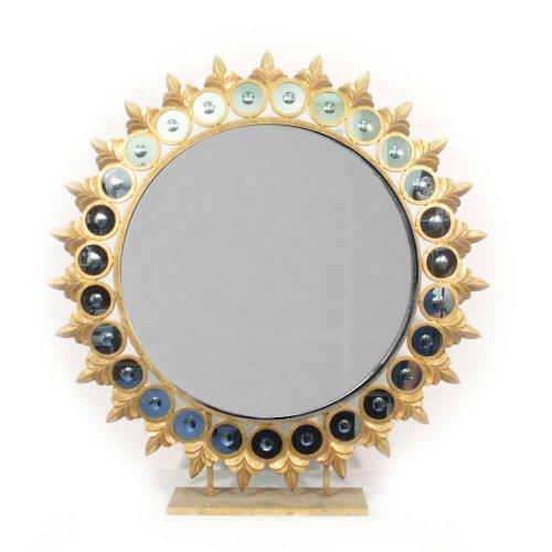 Two's Company Tozai Sun Mirror on Pedestal, Glass/Metal/Resin