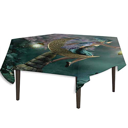 kangkaishi Fantasy Detachable Washable Tablecloth Little Pixie with Lantern Sitting on Moon Stone Fairytale Myth Kitsch Artwork Great for Parties Festivals etc. W36.2 x L36.2 Inch Gold Teal -