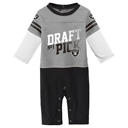 Outerstuff NFL Oakland Raiders Newborn & Infant Draft Pick Long Sleeve Coverall Heather Grey, 12 Months