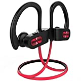 Mpow Bluetooth Headphones Waterproof IPX7, Wireless Earbuds Sport, Richer Bass HiFi Stereo In-Ear Earphones w/ Mic, Case, 7-9 Hrs for Running Workout Noise Cancelling Headsets (Red Outside)