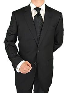 B00FH7A5N8 Abi Milan Red Label Men's 2 Button Suit Black 46L