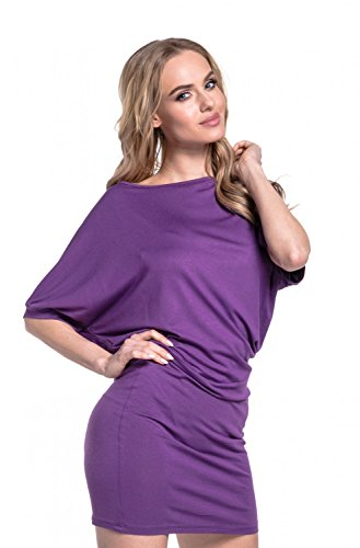 Glamour Empire. Para Mujer Mini Vestido Mangas de Murciélago Cuello de Barco.700 Púrpura