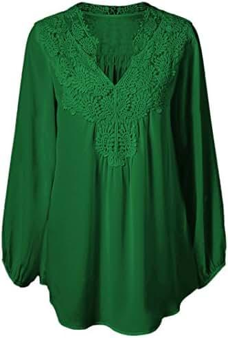 Women Plus Size Chiffon Lace Patchwork Long Sleeve Blouse Top Shirts(2xl-5xl)